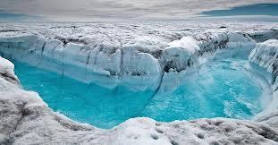 blue ice of a shrinking glacier